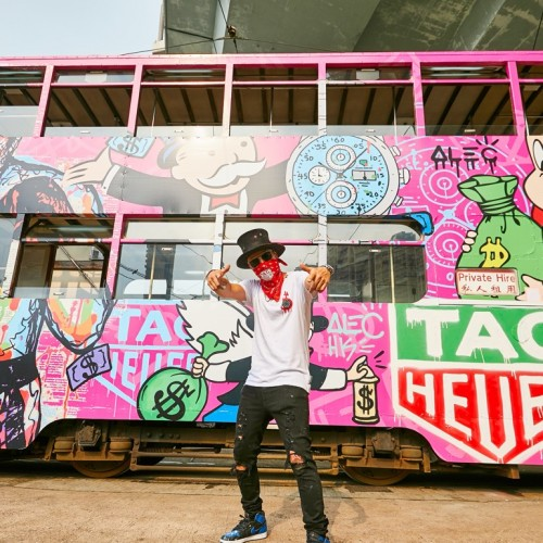 Alec-Monopoly-with-the-graffiti-covered-Hong-Kong-tram-1